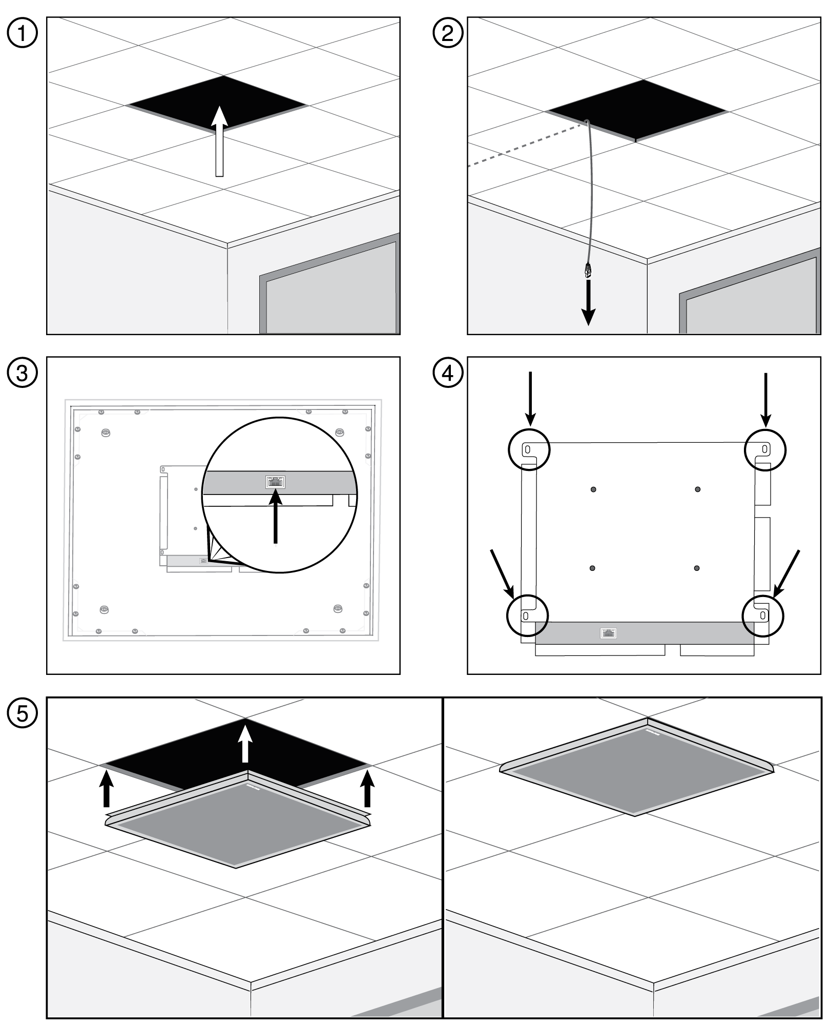 Numbered illustrations showing how to install the MXA910W-A model in a ceiling grid.