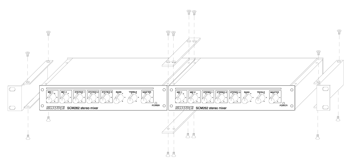 Shure Publications User Guides Scm268 Schematicdiagramradioicomic272xxmainunit4bmp Attach The Short Rackmount Brackets To Outsides Of Combined Units With Eight 8 Bracket Screws