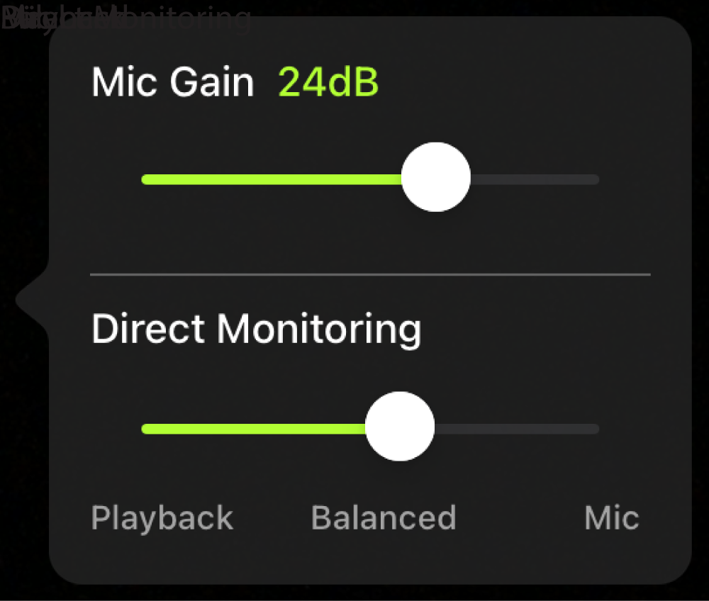 Illustration shows Direct Monitoring slider for selecting your monitor source, Illustration shows Direct Monitoring slider for selecting and adjusting your monitor source