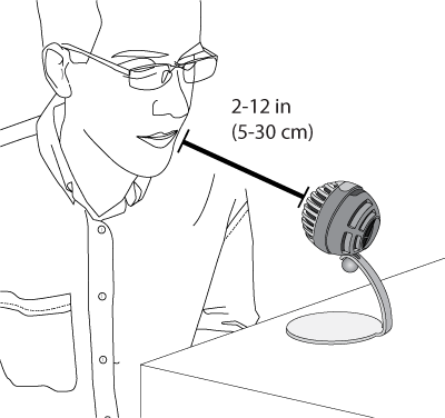 Image shows close mic distance is 2 to 12 inches.