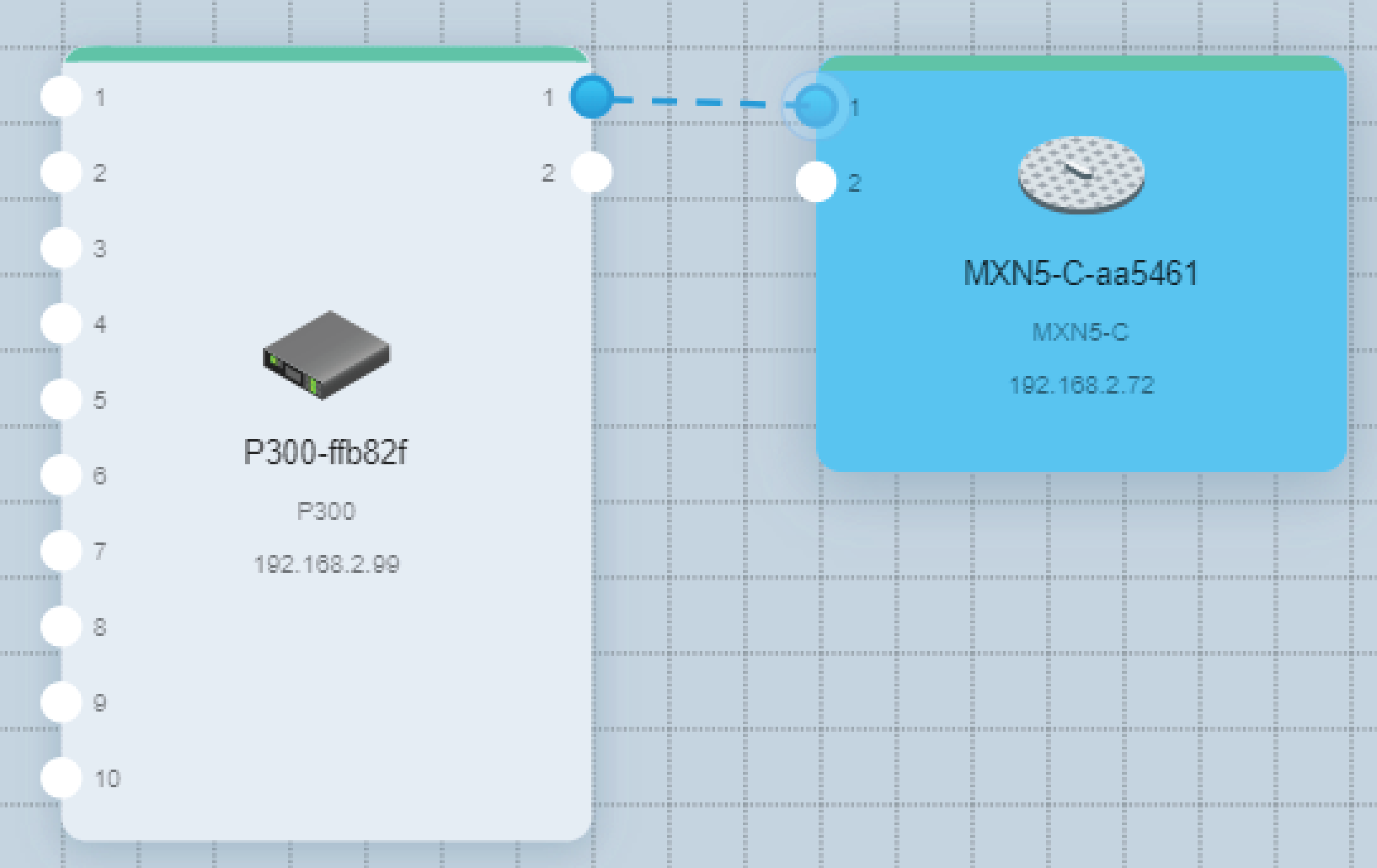 Screenshot from Designer showing the P300's Dante output 1 being routed to the MXN5-C loudspeaker's Dante input 1.