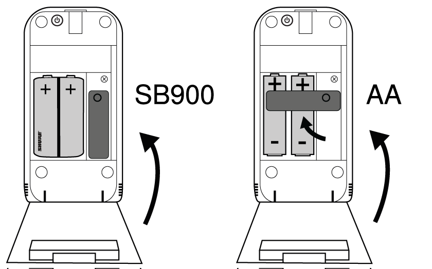 A transmitter with a Shure rechargeable battery and a transmitter with an AA battery showing the rubber piece rotated to keep the battery in snugly