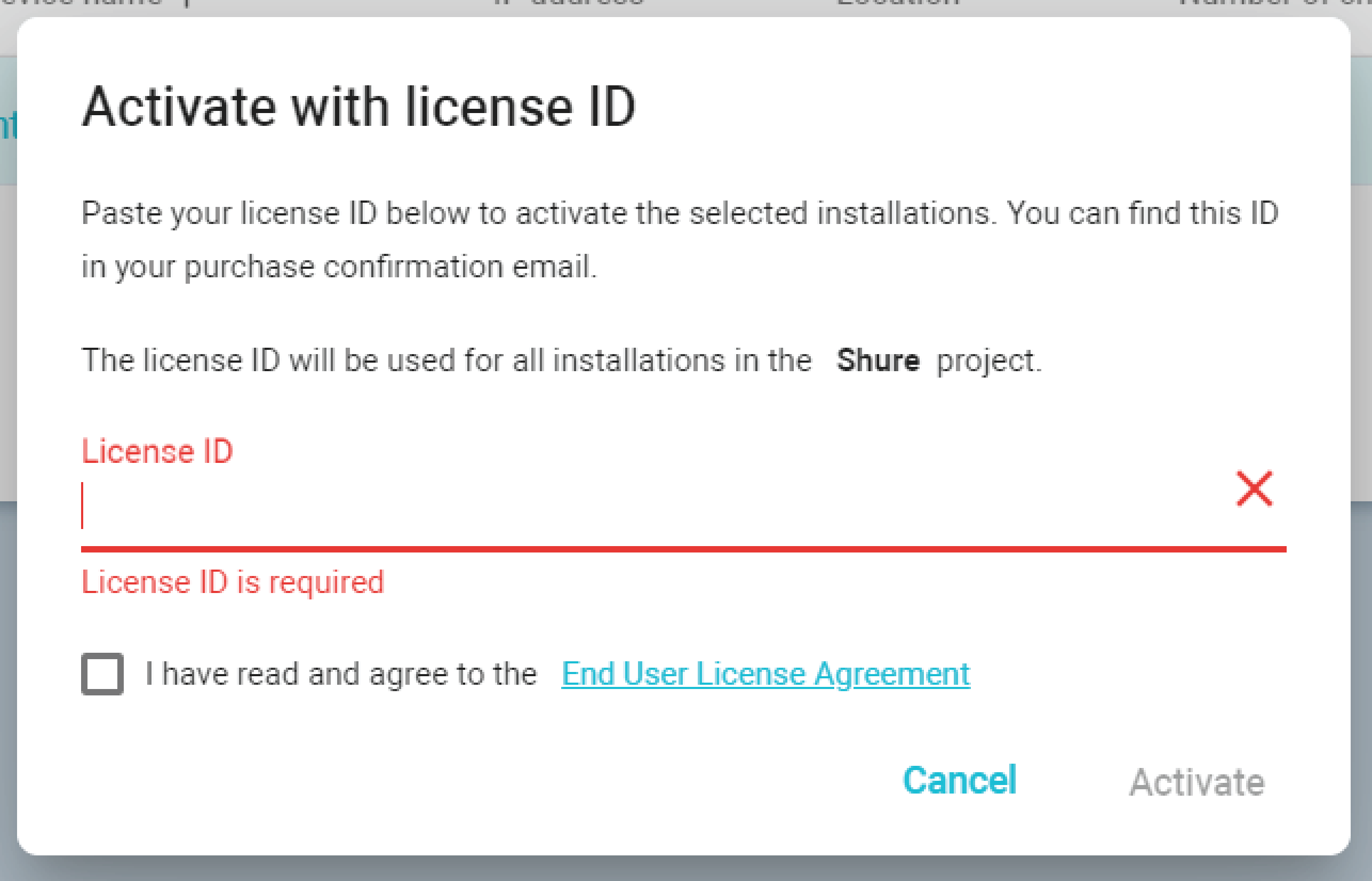 Screenshot showing the license activation screen for IntelliMix Room in Designer software.