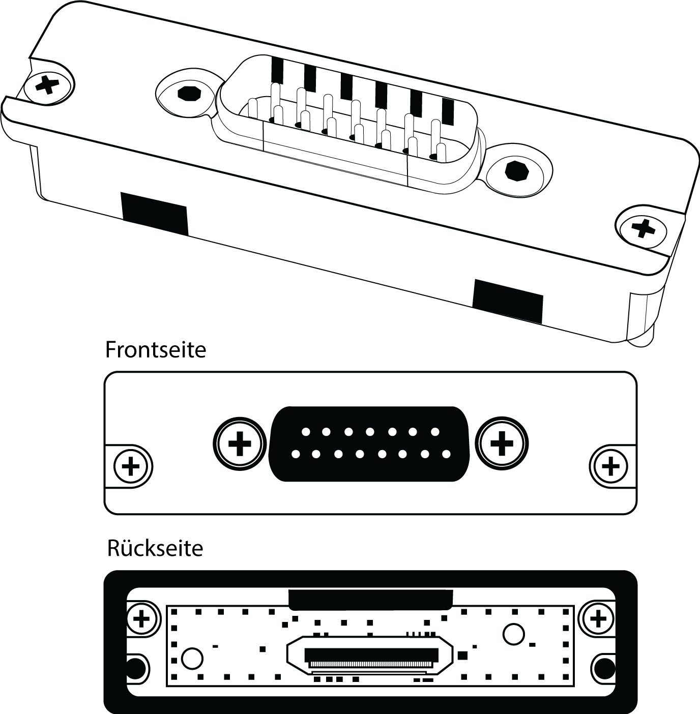 Front and rear view of the AD-DB15 backplate