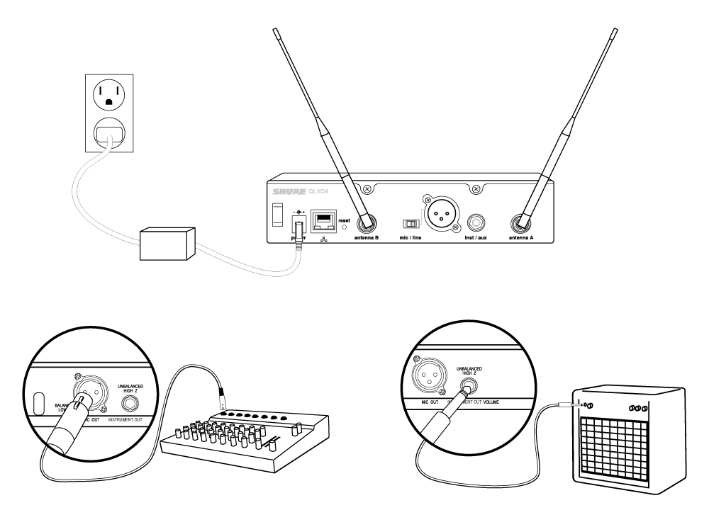 Three illustrations: The receiver plugged into a power supply, the receiver audio output connected to a mixer, and the receiver audio output connected to an amplifier