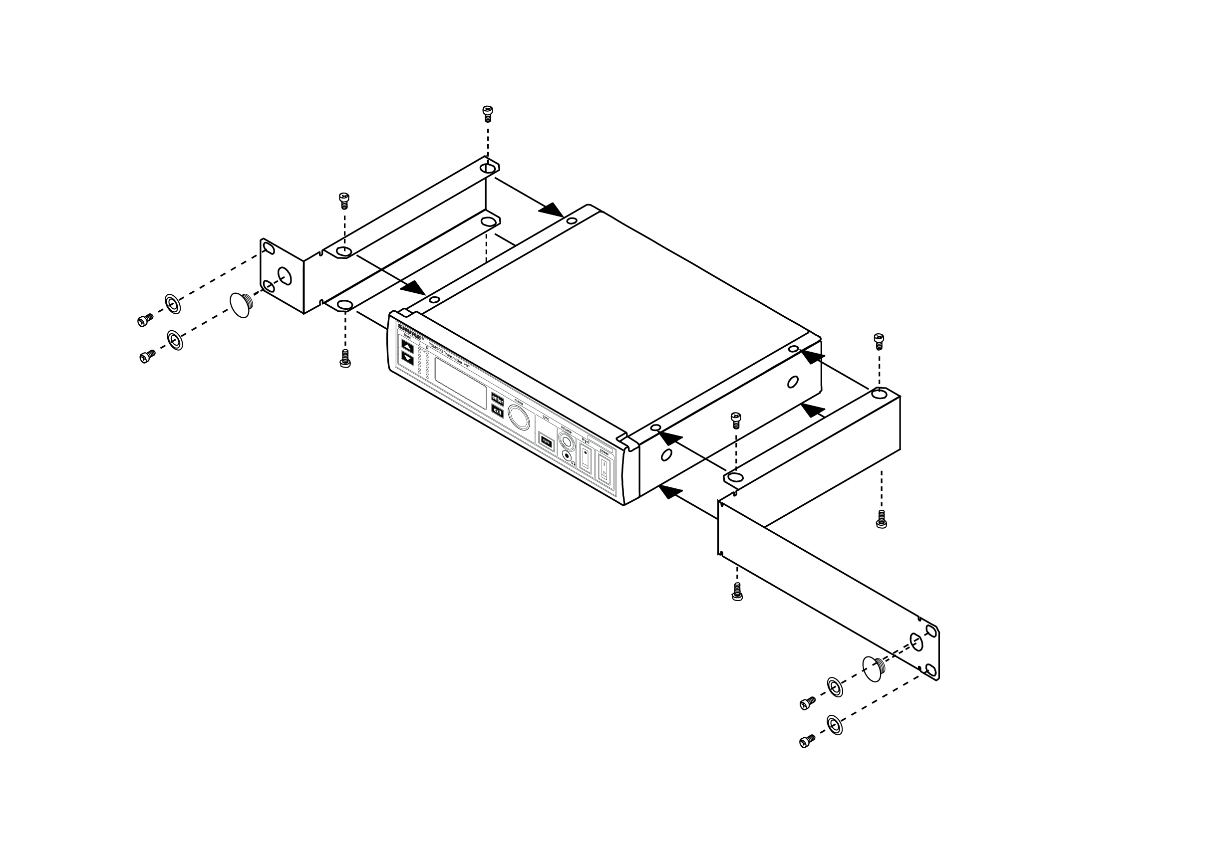 A diagram showing how to attach the rackmount hardware to a single receiver.
