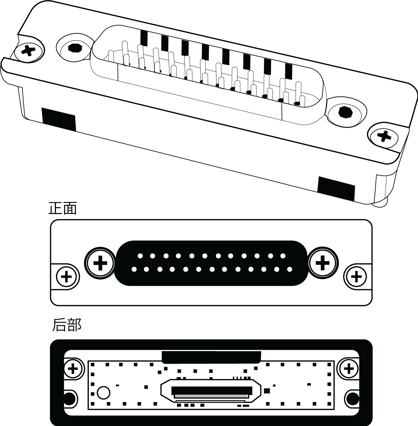 Front and rear view of the AD-DB25 backplate