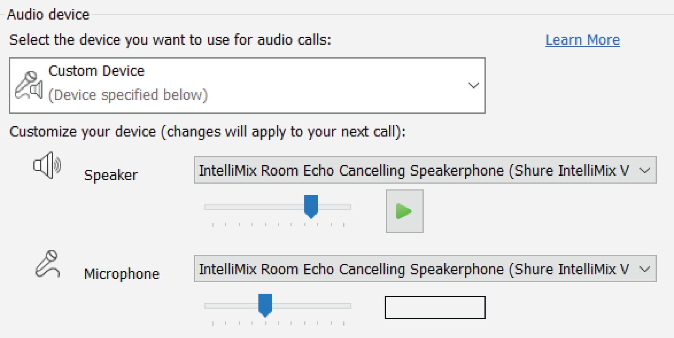 Screenshot showing IntelliMix Room selected as the speaker and microphone in videoconferencing software.
