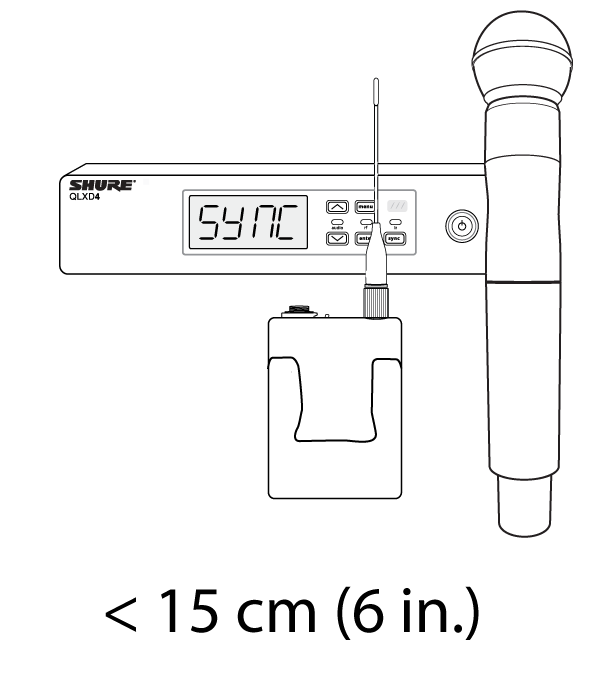 A handheld and bodypack transmitter being held close to the IR sync window of a receiver