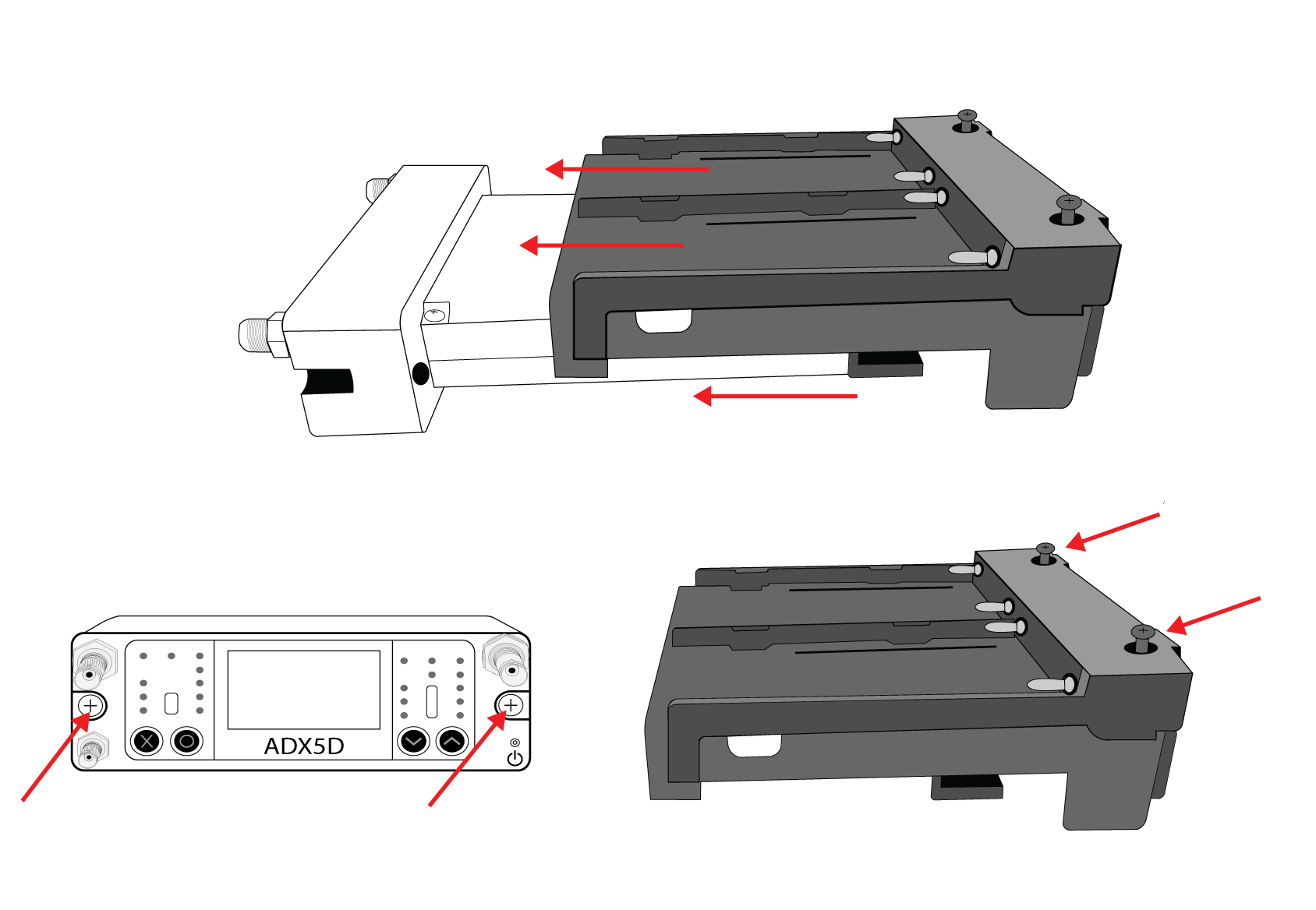 The battery sled being slotted on to the receiver. There are arrows calling out the screws that secure the sled.
