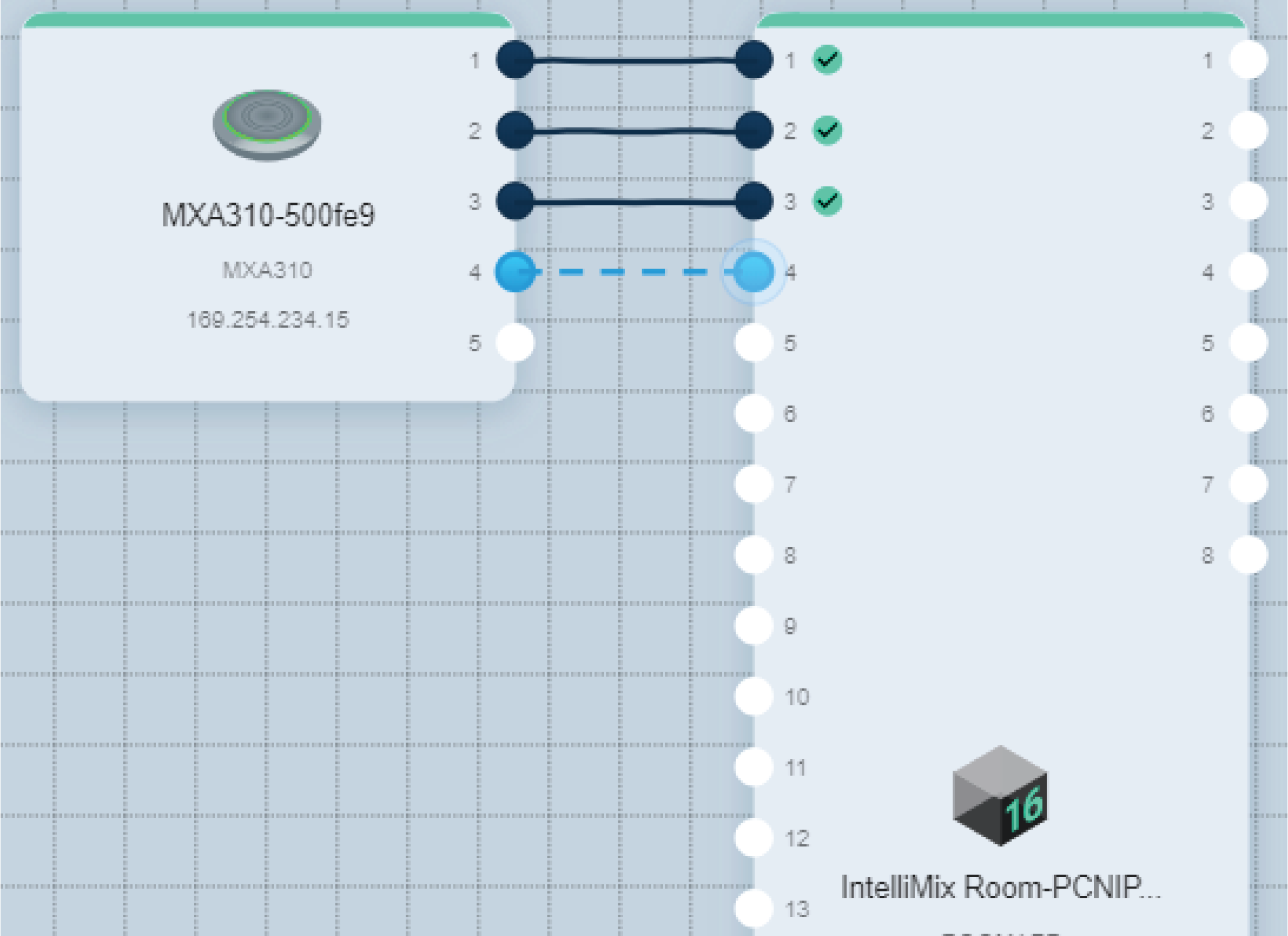 Screenshot showing how to route audio from an MXA310 to IntelliMix Room using Shure Designer software.