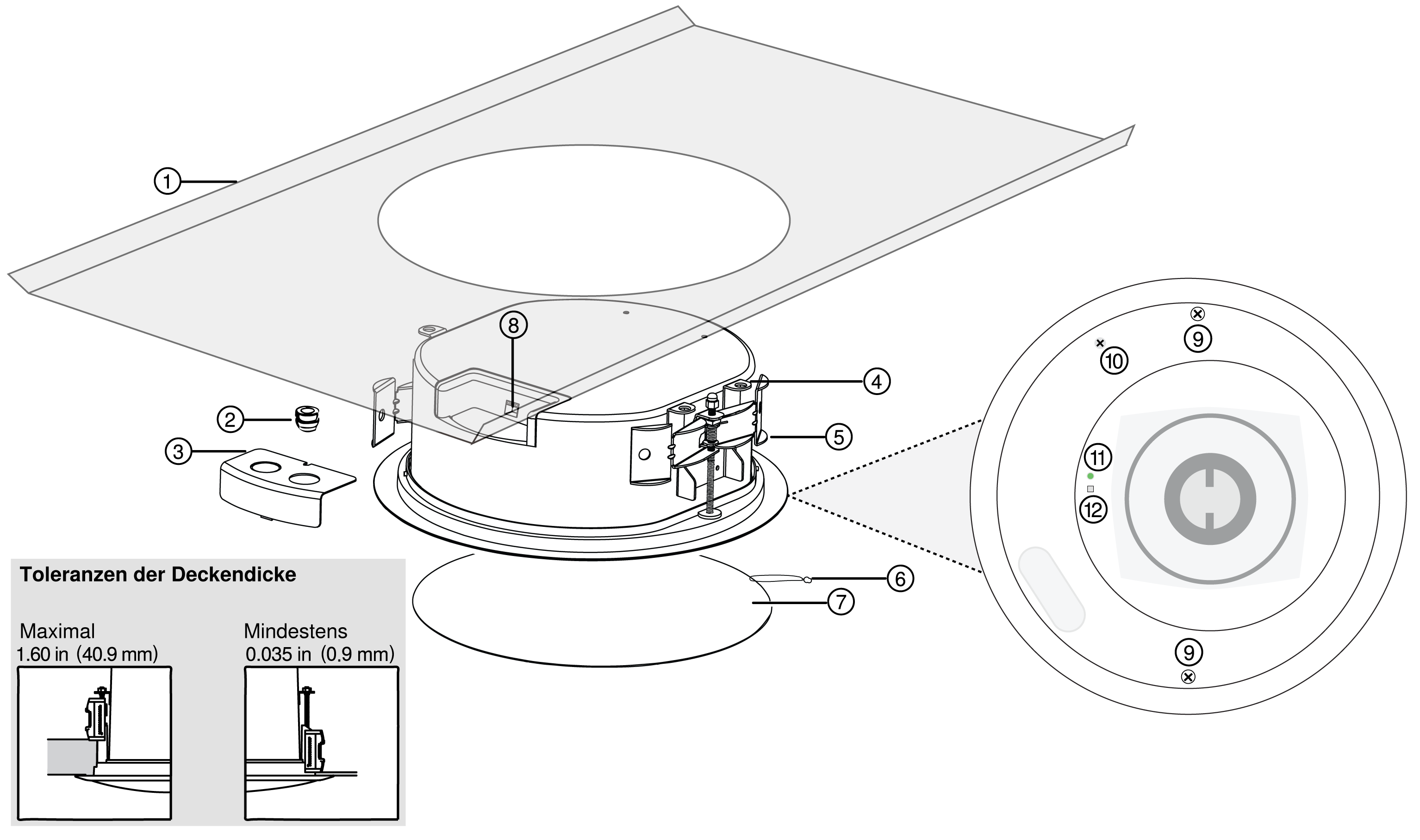 Illustration showing the different parts of the MXN5-C loudspeaker and tile bridge.