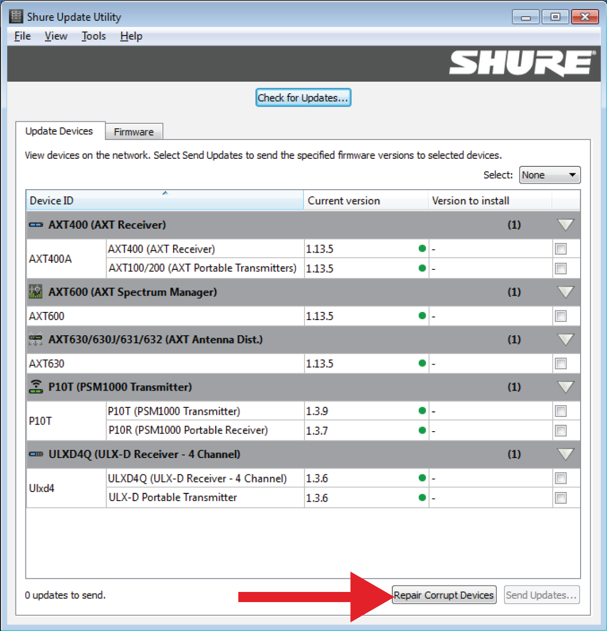 Shure Publications | User Guides | Shure Update Utility