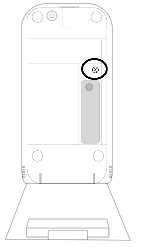 A transmitter with the back open. There is a circle around the battery screw.