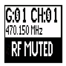 A transmitter screen reading RF Muted