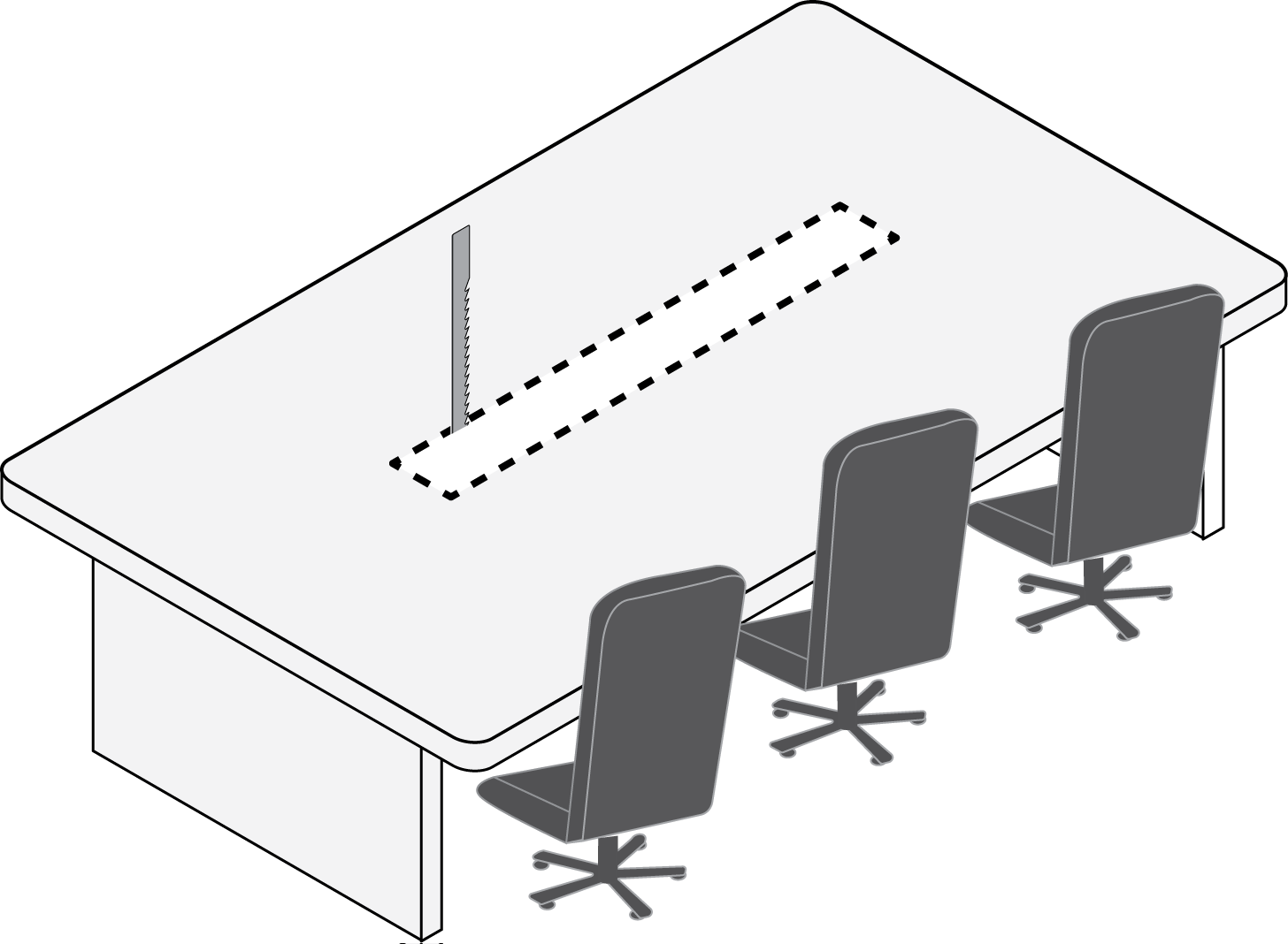 Illustration showing cutting a hole in a surface to install the A710-FM.