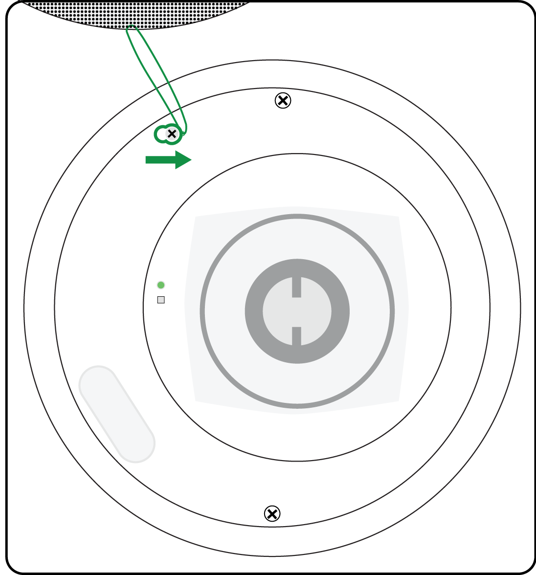 Illustration showing where to attach the grille safety restraint on the MXN5-C loudspeaker.
