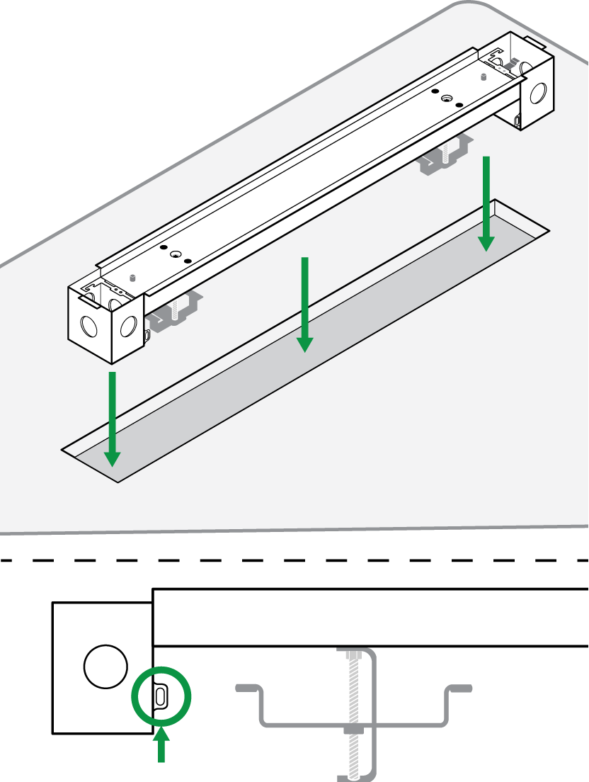 Illustration showing how the A710-FM fits into the hole cut in the surface.