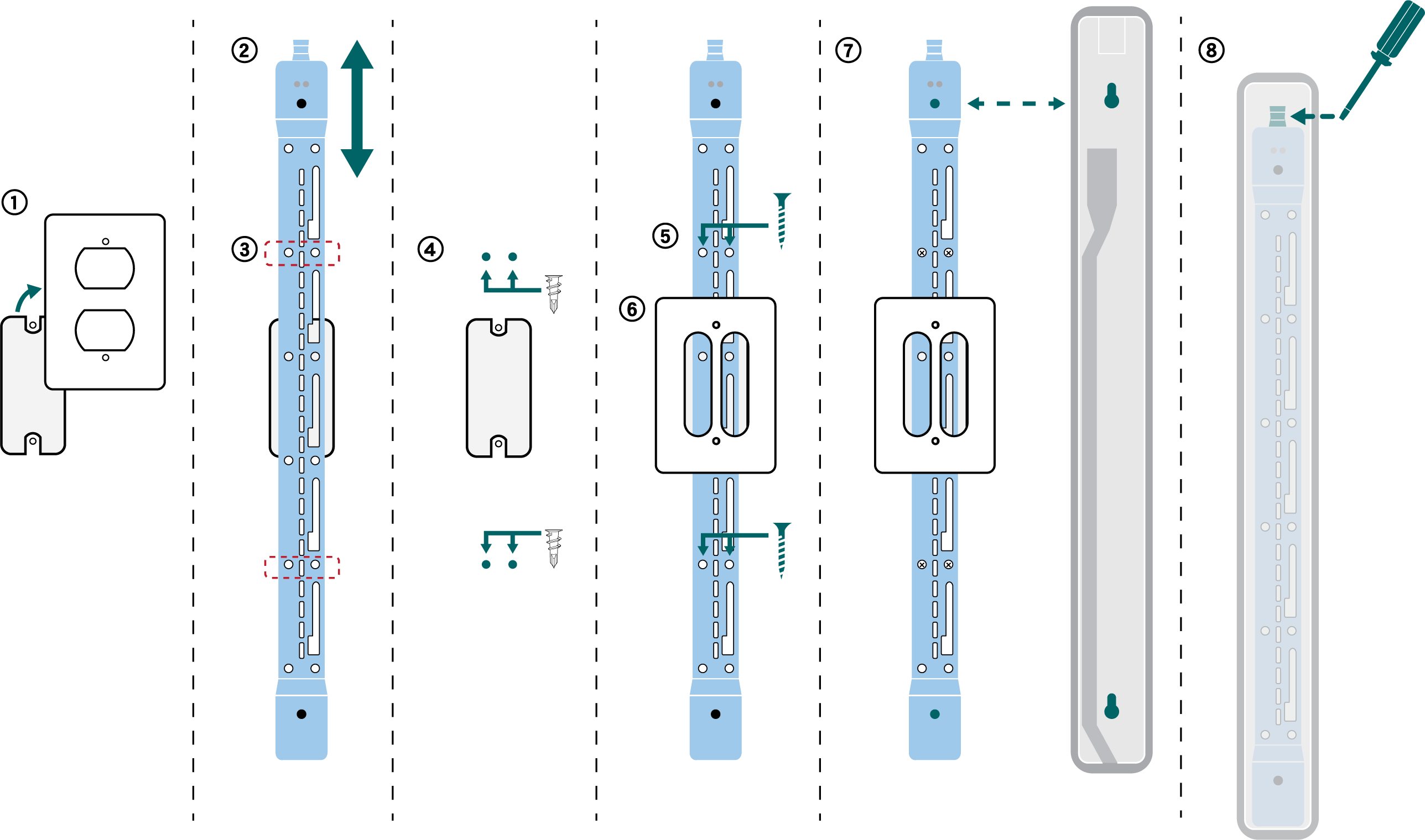 Numbered steps showing how to install the A710-HOUSING in a wall-mounting bracket.