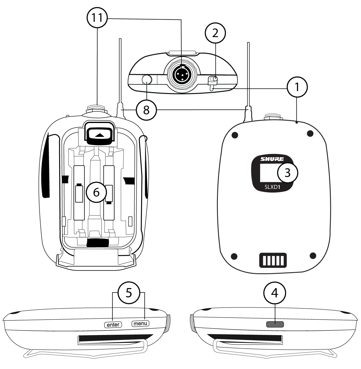 A diagram of the SLXD1 bodypack transmitter, with numbers calling out each feature.