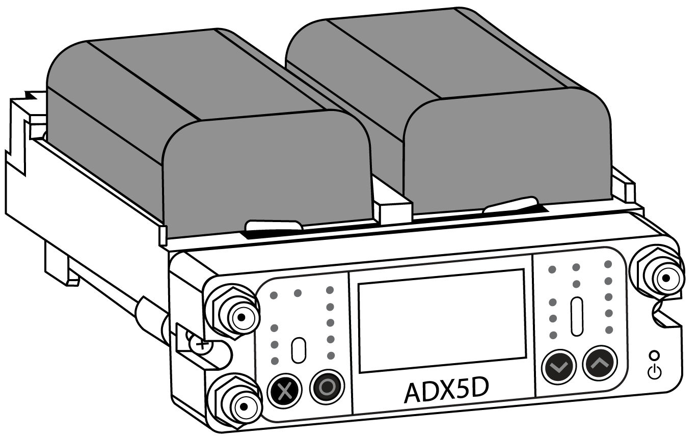 The ADX5D with the battery sled and batteries attached