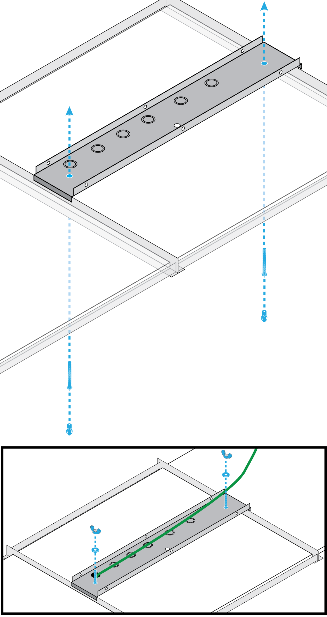 Illustration showing how to install 2 Gripple Angel connectors to the A710-TB's mounting bolts to suspend an MXA710 from tile.