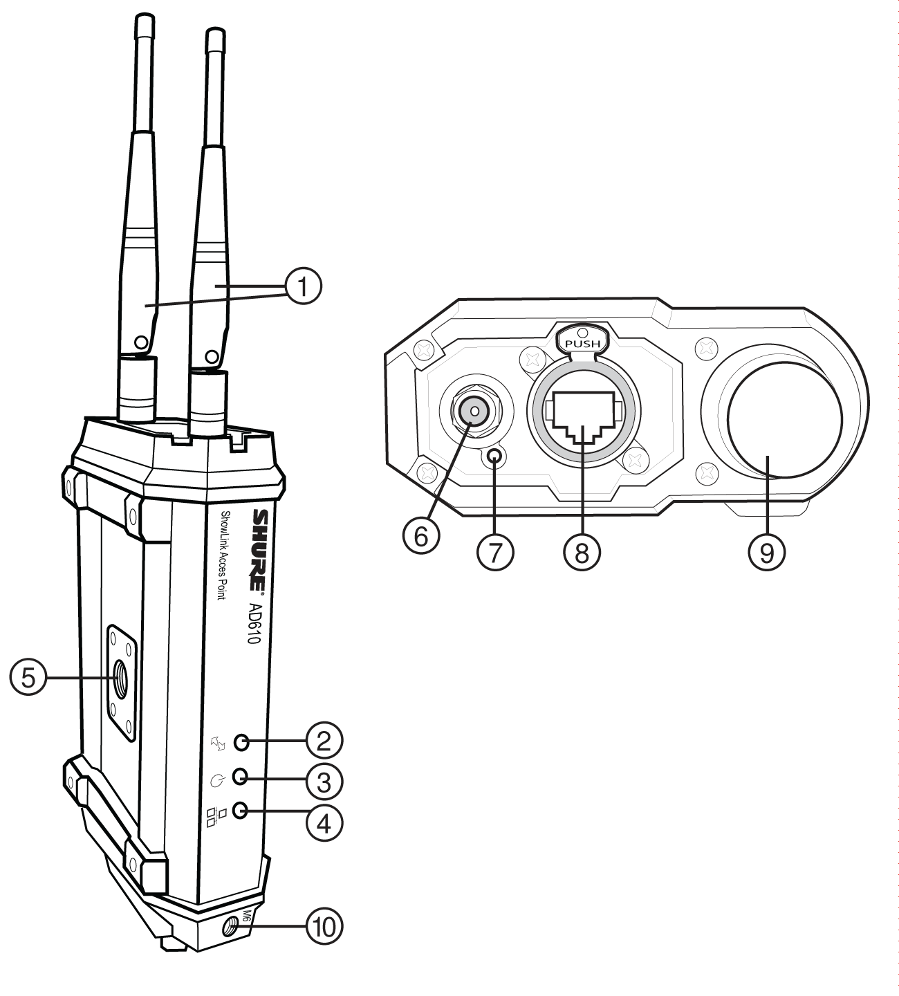 The AD610 with callouts by each part