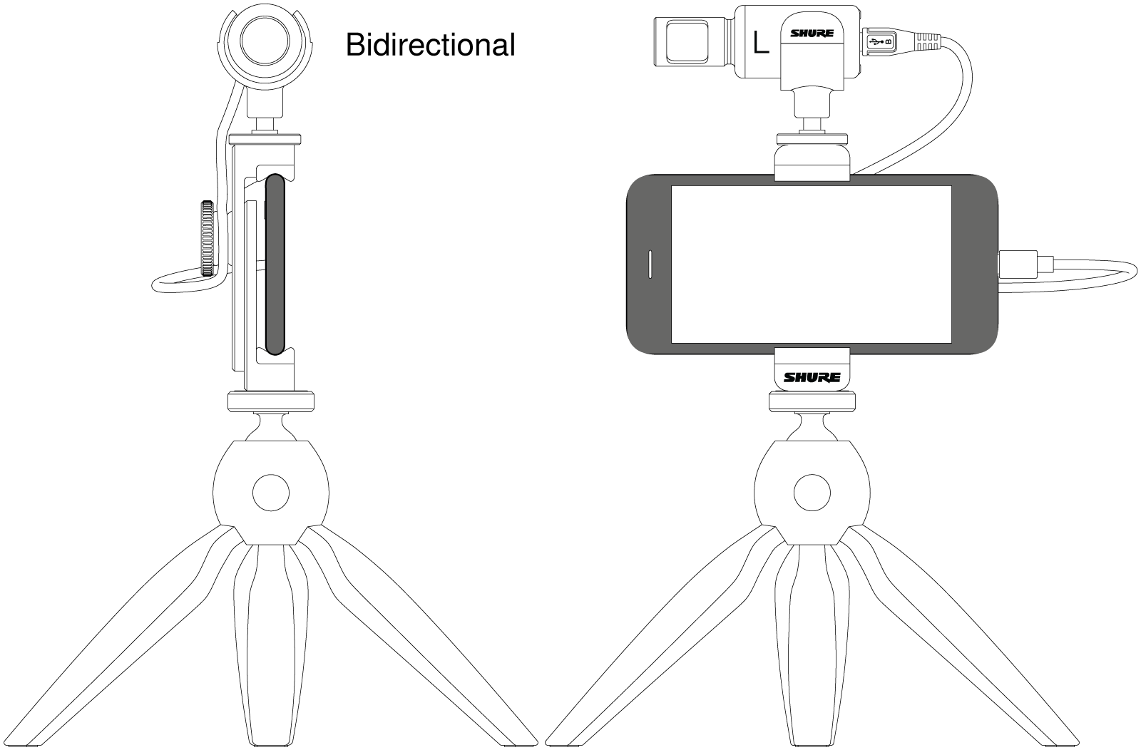 Illustrations of MOTIV mic and phone in bidirectional interview mode