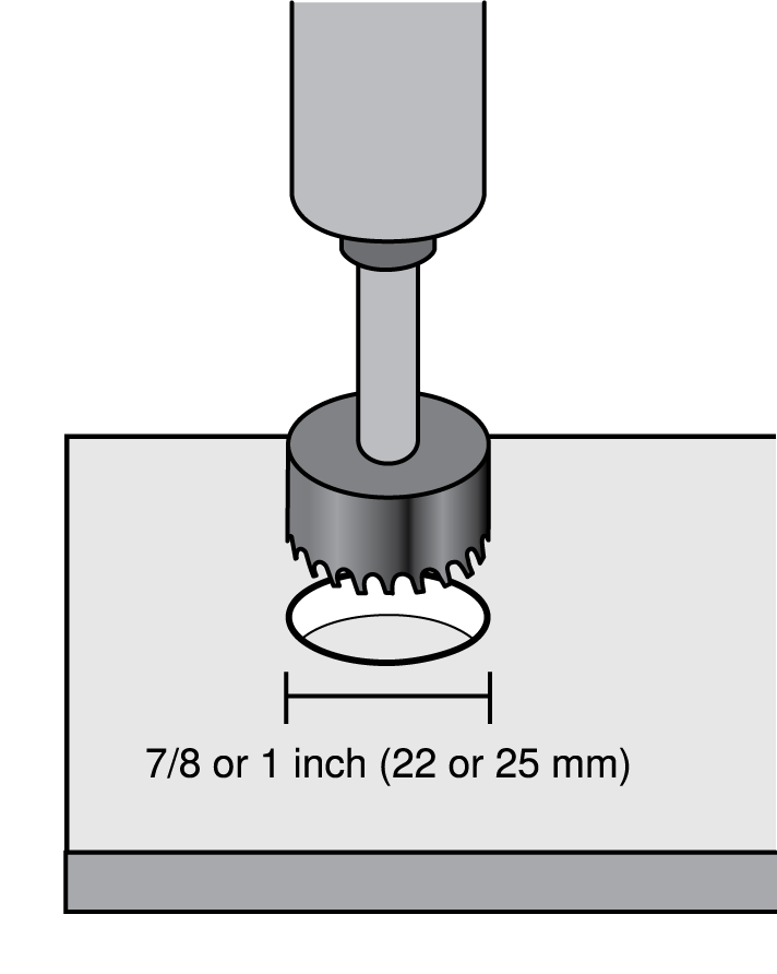 Drilling a 22 or 25 mm hole in a table to install the MXA Network Mute Button.