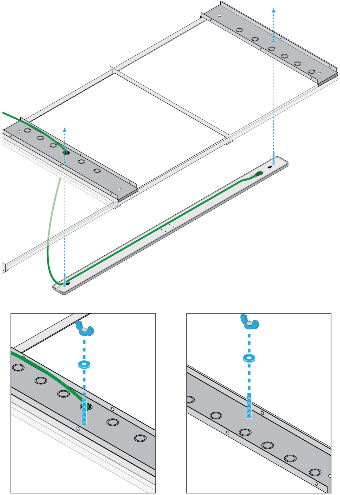 Illustration showing how to attach the MXA710-4FT to 2 A710-TBs. Attach the 2 wing nuts to the bolts to secure the mic to the ceiling tiles.