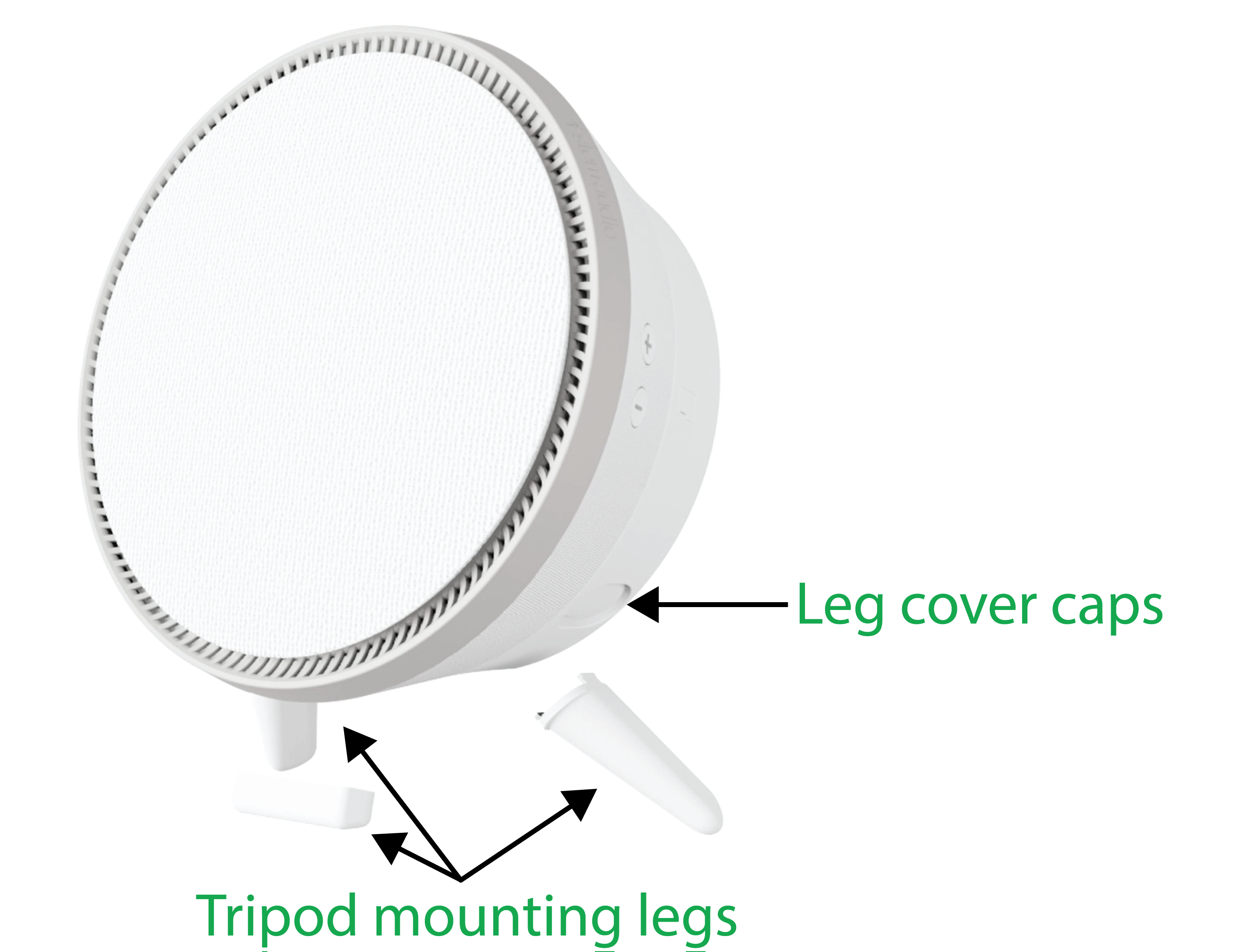A picture of the Stem Speaker, showing leg cover caps and tripod mounting legs.