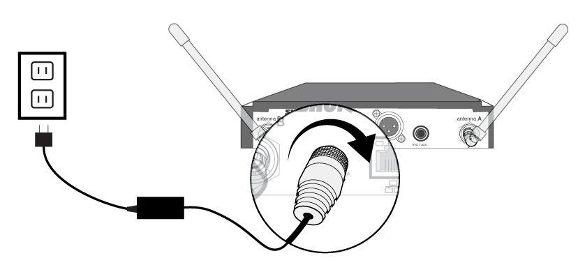 Diagram showing power connection on the back of the SLXD4 receiver.