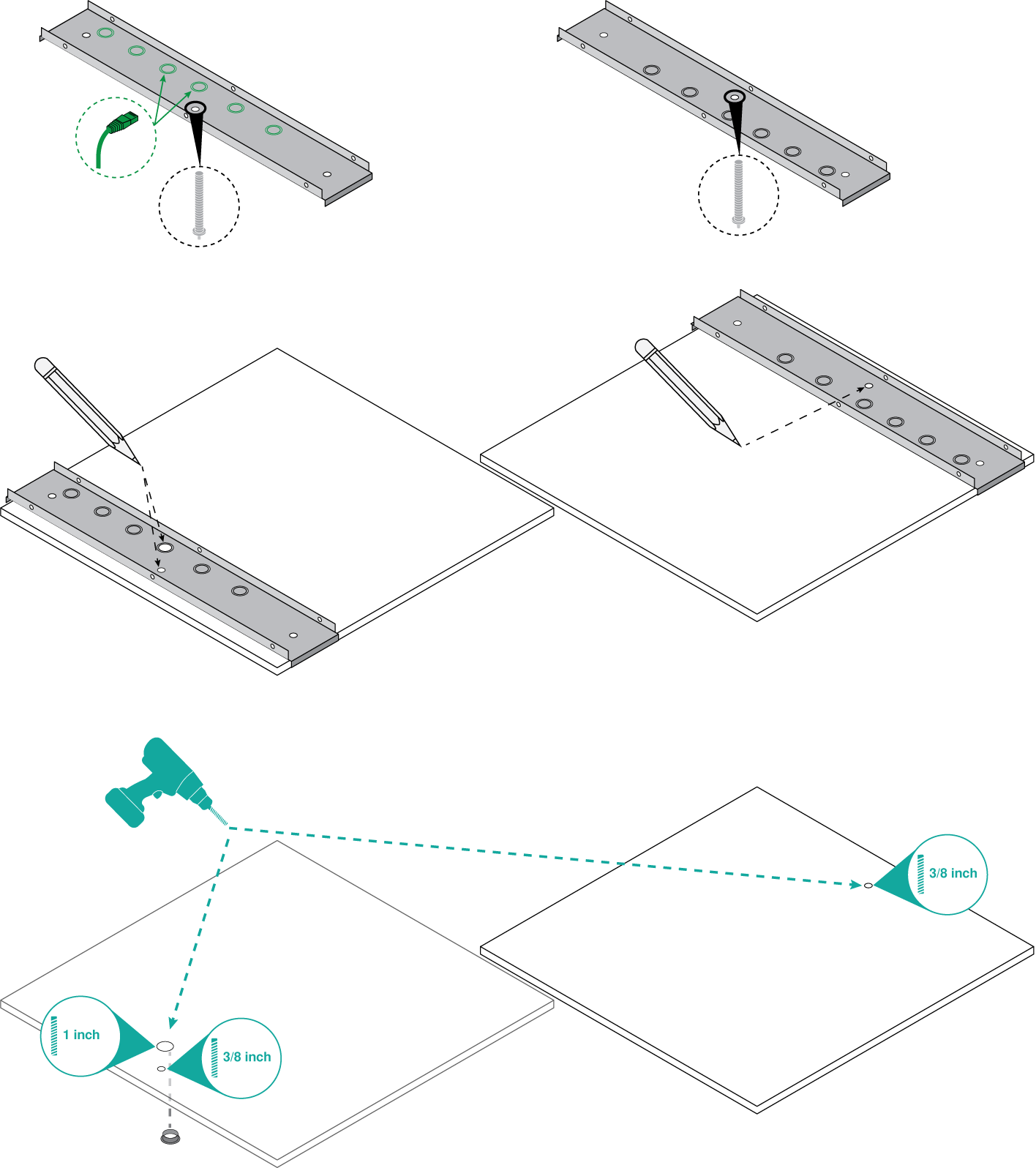 Illustration showing how to place 2 A710-TBs on ceiling tiles and drill holes for the mounting bolts and Ethernet cable.