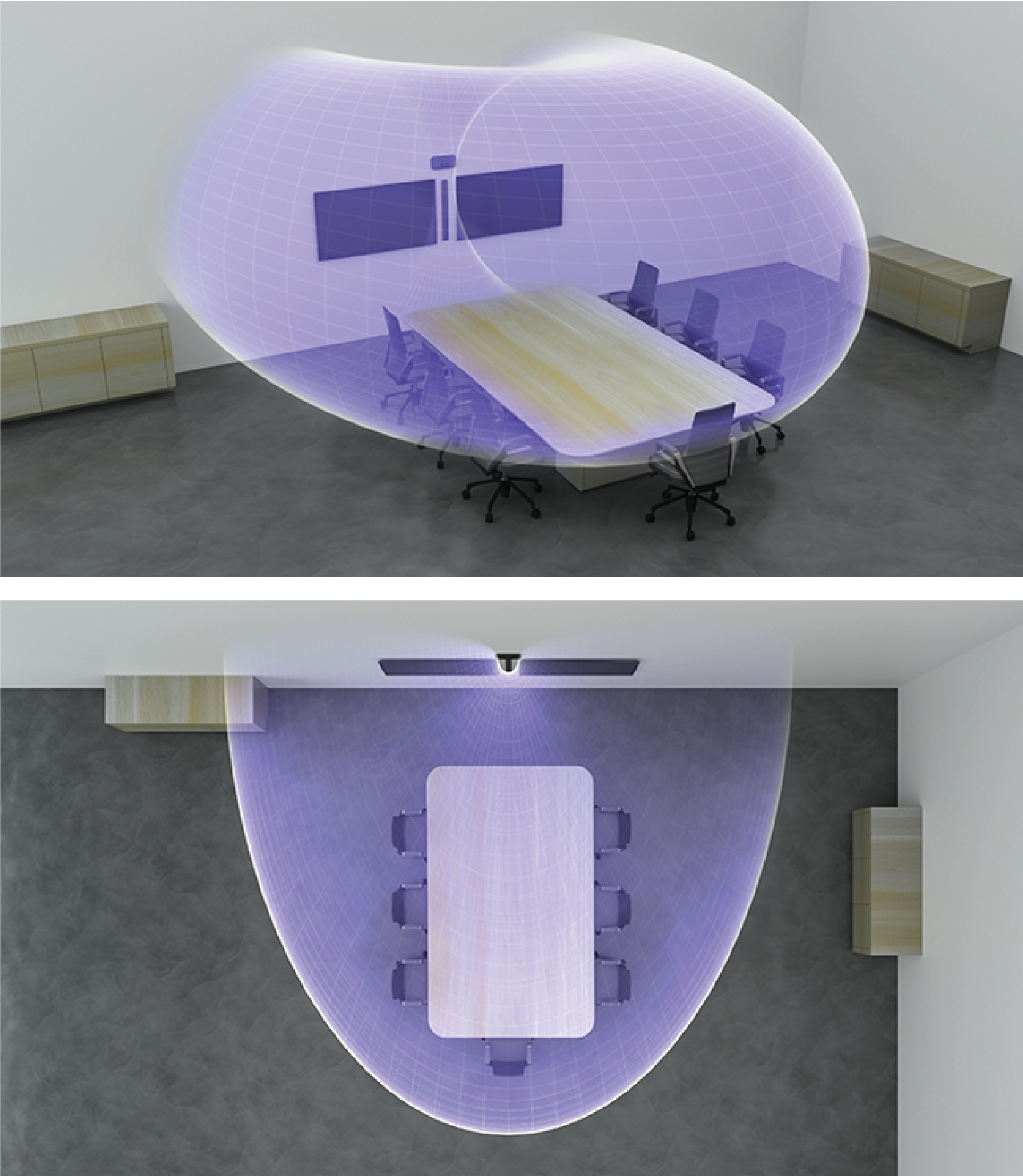 Illustration showing the MXA710's wall vertical coverage template in a confence room.