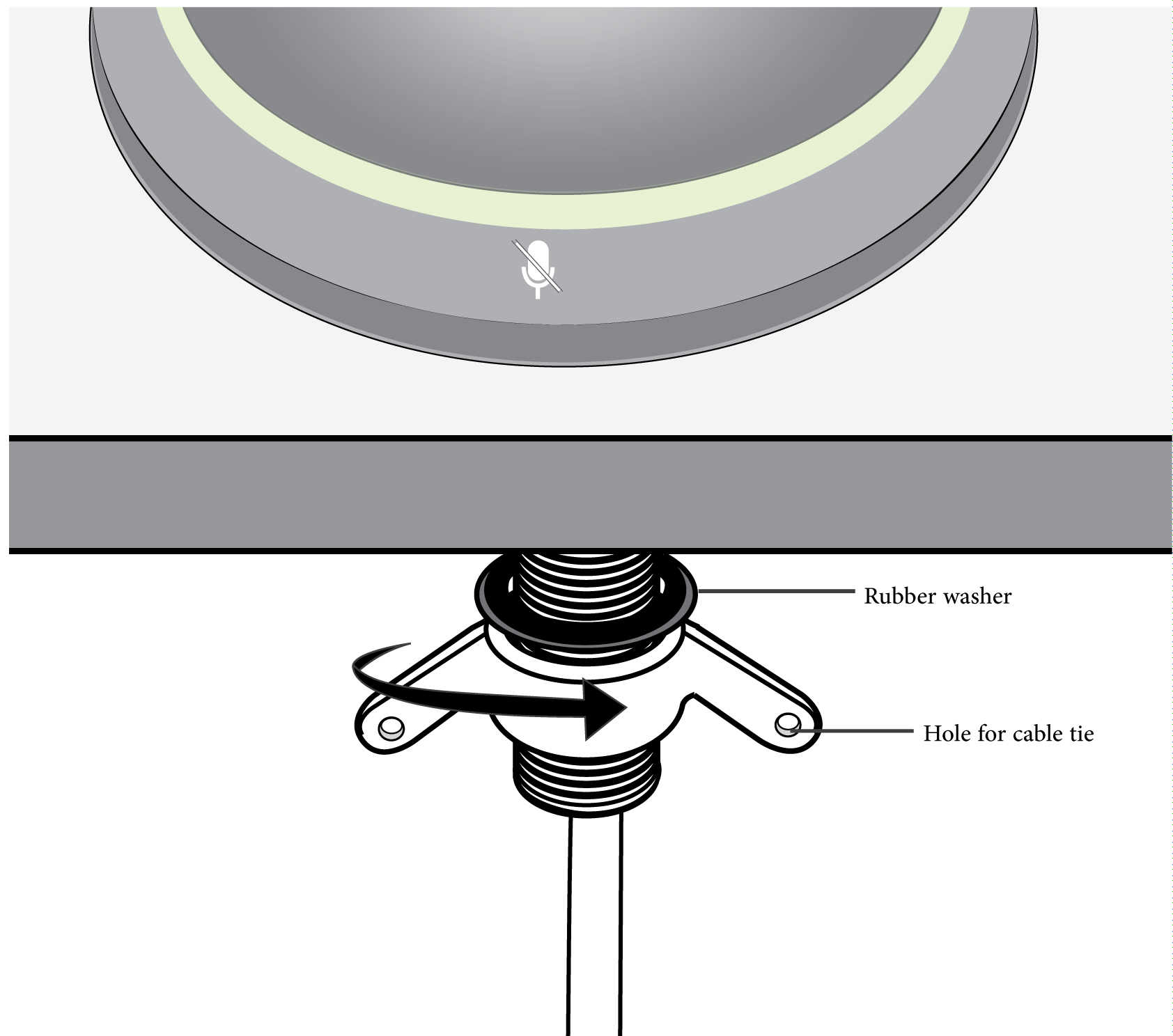 Shure Publications User Guides Mxa310 4 Wire Proximity Cable Wiring Diagram Optional Use The Hole In Wing Nut To Insert A Tie For Management