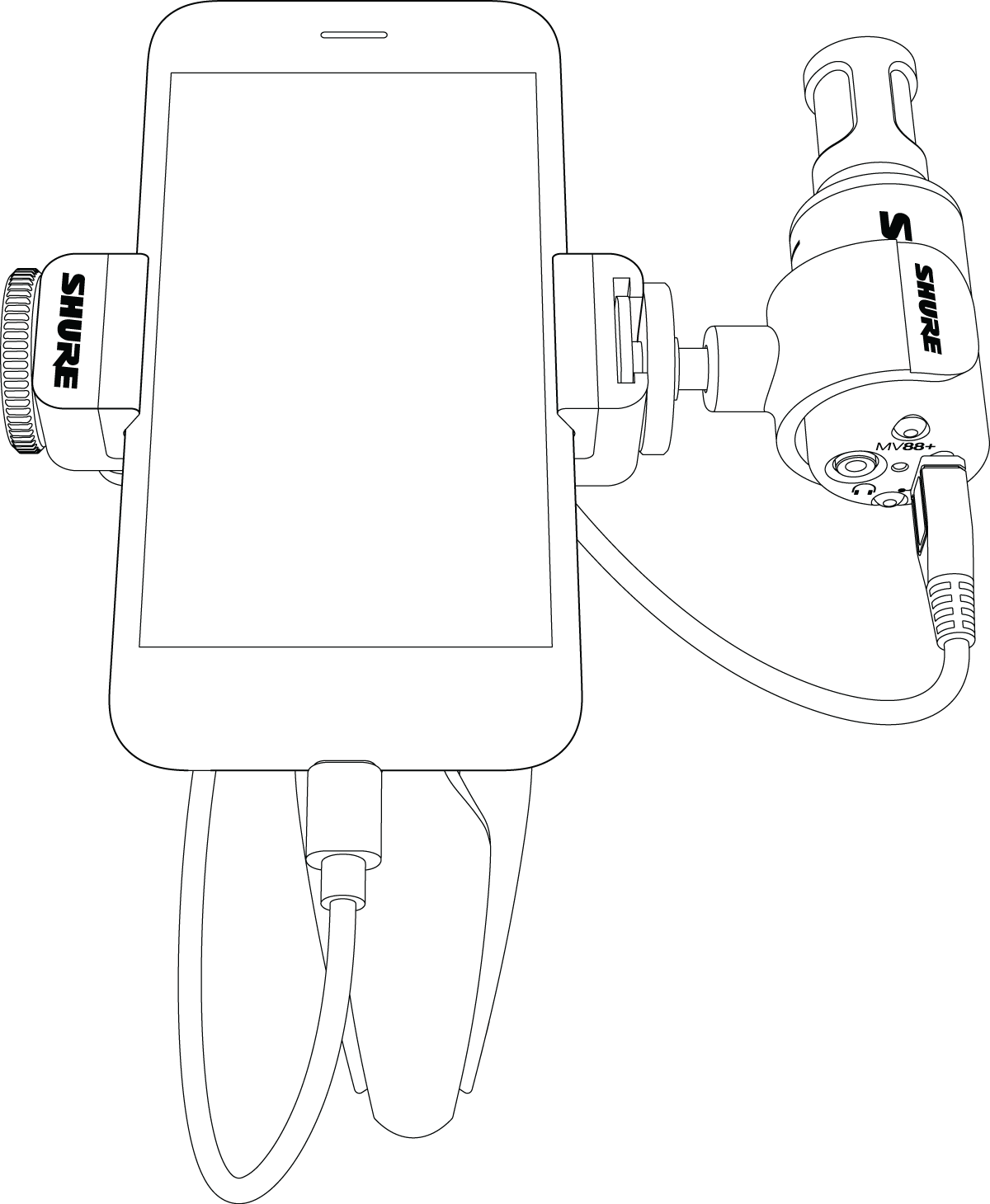 Illustration of MOTIV mic and phone in portrait shooting mode