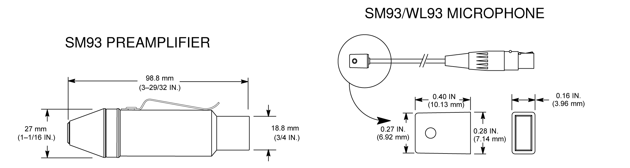 Shure Publications User Guides Wl93 Sm93 Diagram Symbools Of Microphone Overall Dimensions Preamplifier Circuit