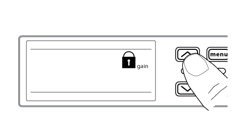 A finger pushing the arrow buttons to move between lock options on the receiver. There is a lock icon on the screen