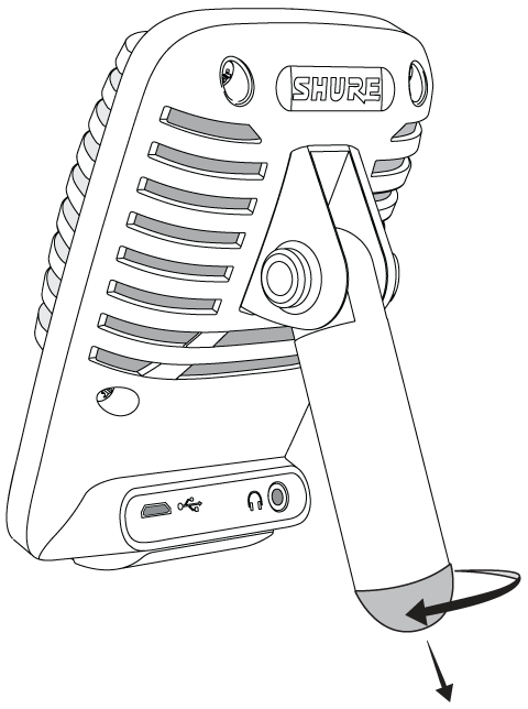 Illustration of MV51 showing removable bottom cap for mic stand use.