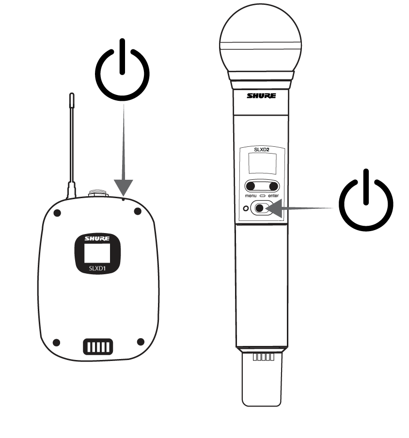 Images of the SLXD1 and SLXD2 transmitters, with arrows highlighting the power switch on each.