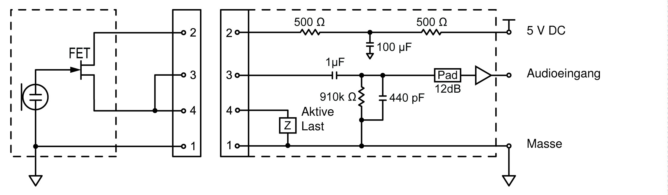 A wiring diagram of the TA4M connector