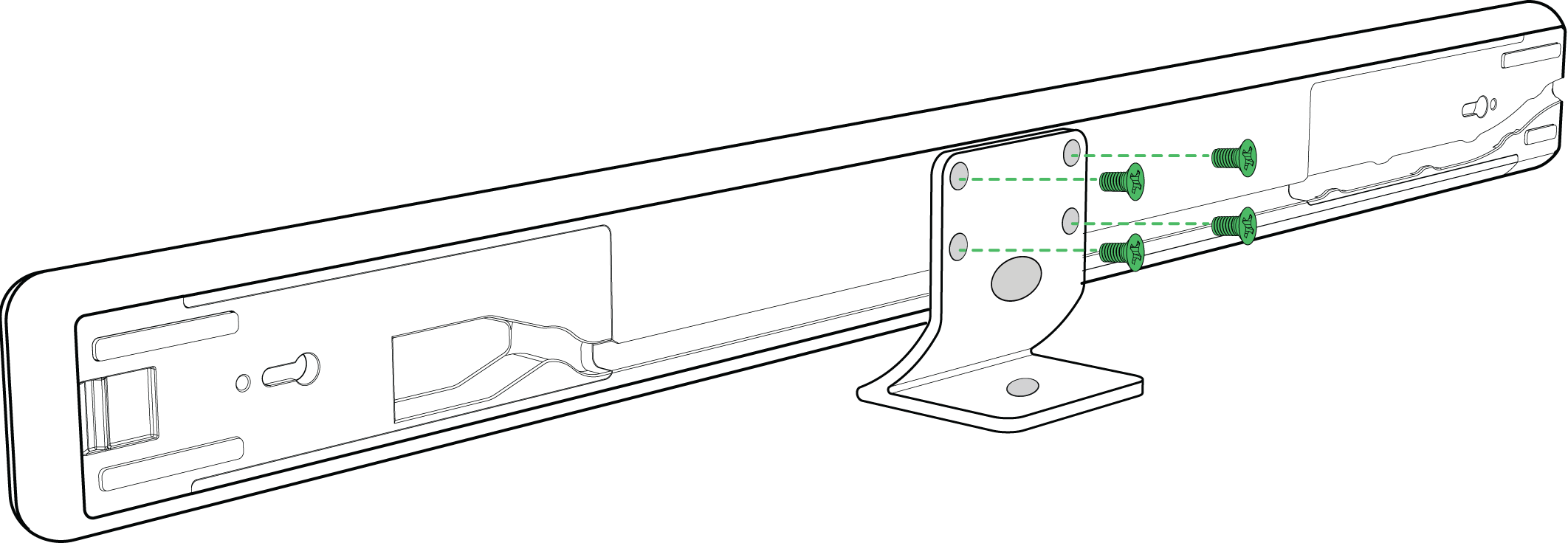 Diagram showing how to attach an MXA710 microphone to a desk stand using 4 screws. The 5th screw attaches the stand to a surface.