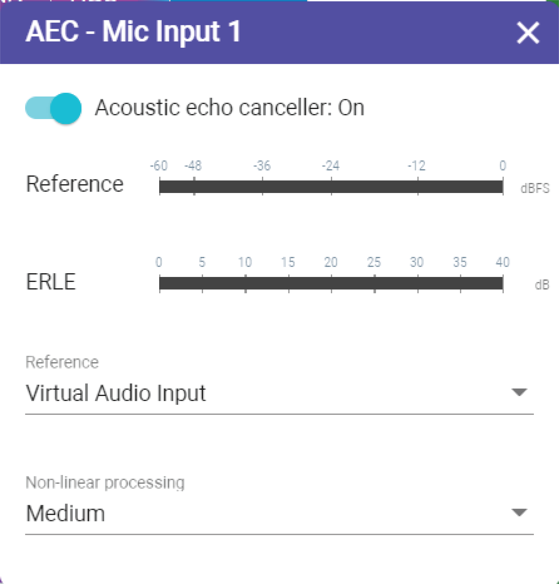 Screenshot showing how to select an AEC reference source in IntelliMix Room.