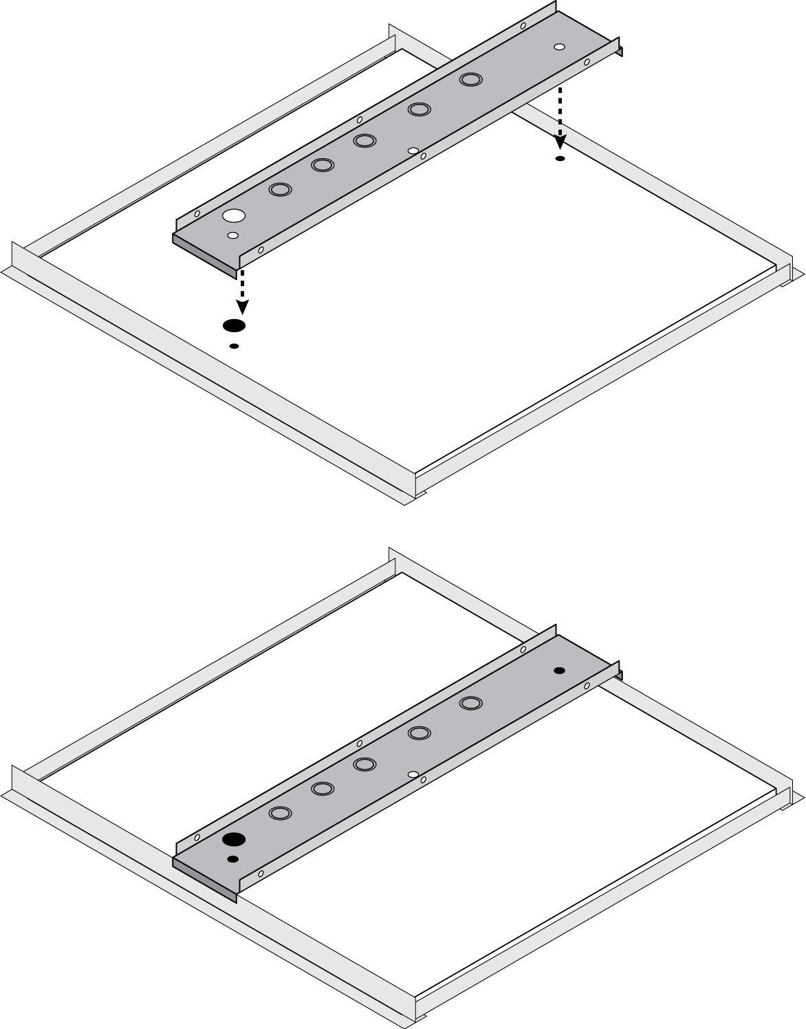 Illustration showing how to install the A710-TB on ceiling T-bars and align it with the holes drilled in the ceiling tile.