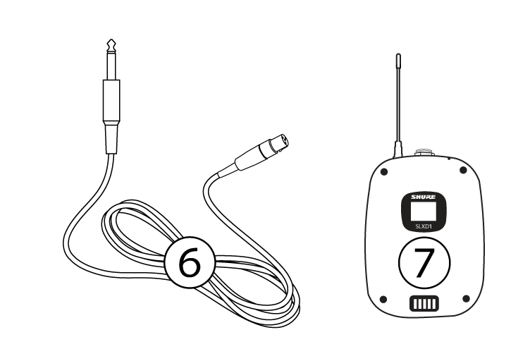 An image of the included SLX-D guitar system components, with numbers identifying each.