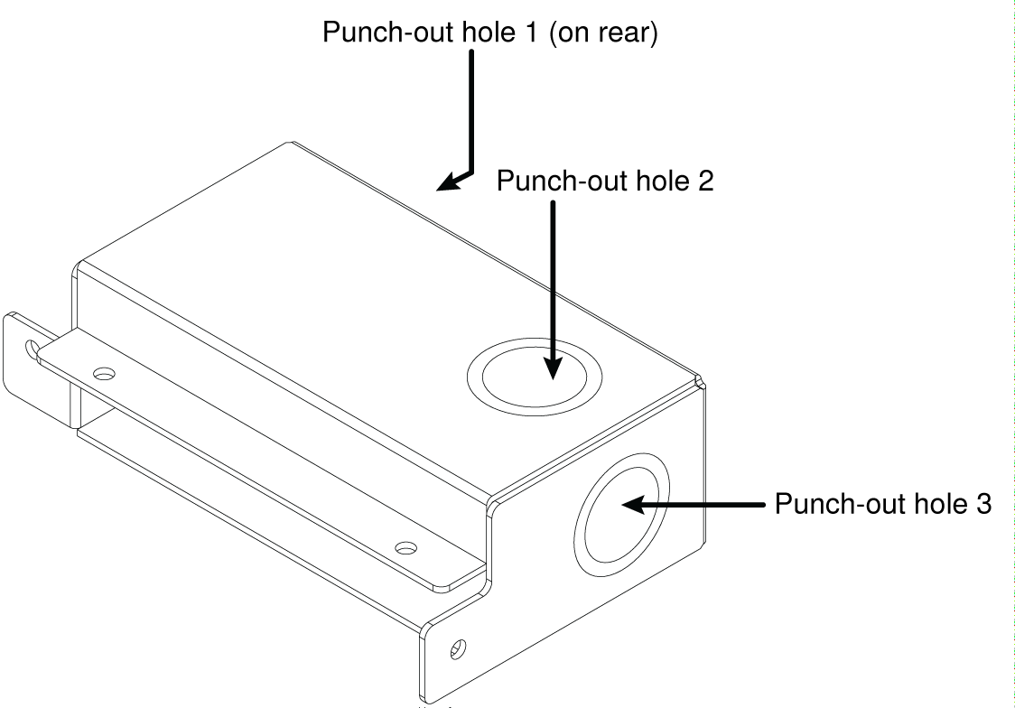 Illustration showing the 3 knockouts on A910-JB junction boxes for MXA910 microphones.