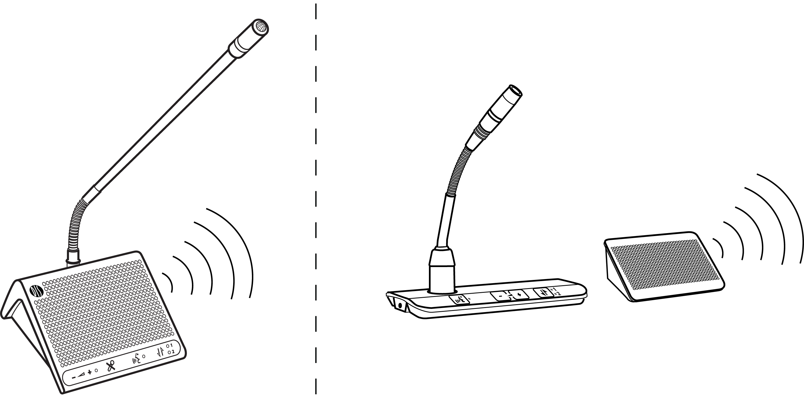 Illustration showing loudspeakers on portable and flush-mount discussion units