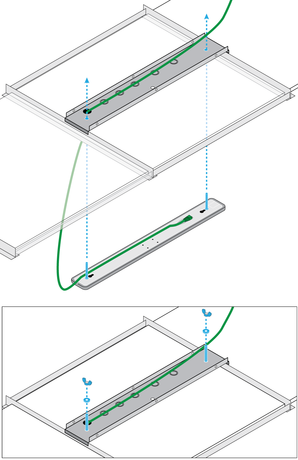 Illustration showing how to attach the MXA710-2FT to the A710-TB. Attach the 2 wing nuts to the bolts to secure the mic to the ceiling tile.