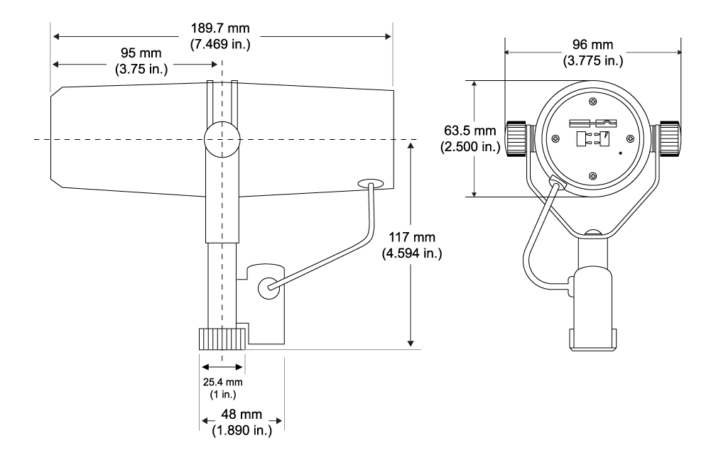 A diagram showing the dimensions of an SM7B