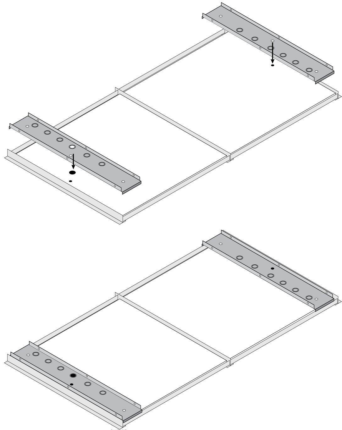 Illustration showing how to install 2 A710-TBs on ceiling T-bars and align them with the holes drilled in the ceiling tiles.
